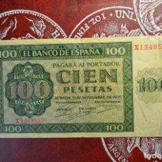 Billetes españoles: 100 PESETAS. BANCO DE ESPAÑA. GUERRA CIVIL. BURGOS, 21 NOVIEMBRE DE 1936. Lote 266458983