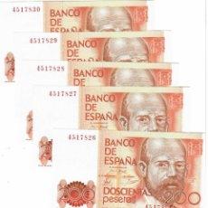 Banconote spagnole: CINCO BILLETES DE 200 PESETAS AÑO 1980 SIN CIRCULAR Y CORRELATIVOS. Lote 267189834