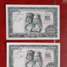 Banconote spagnole: BILLETE 1000 PESETAS 1957. PAREJA CORRELATIVA. SC PLANCHA TACO. MUY BONITOS. Lote 267463609