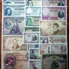 Banconote spagnole: 20 BILLETES DE ALFONSO XIII, 2ª REPUBLICA Y DEL ESTADO ESPAÑOL. LOTE 1668. Lote 267563014