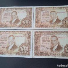 Billets espagnols: 4 BILLETES DE 100 PESETAS DE 1953. Lote 267778554