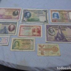 Billetes españoles: * COLECCION DE 9 BILLETES ESPAÑOLES ORIGINALES DE ALFONSO XIII, REPUBLICA Y GUERRA CIVIL. ZX. Lote 268148349