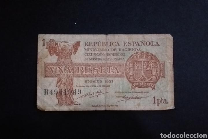 BILLETE DE PESETA ESPAÑA AÑO 1937 REPUBLICA ESPAÑOLA (Numismática - Notafilia - Billetes Españoles)