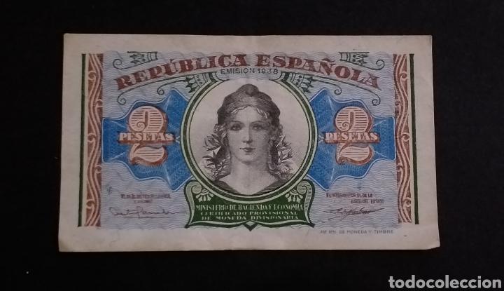 BILLETE DE 2 PESETAS ESPAÑA AÑO 1938 REPUBLICA ESPAÑOLA (Numismática - Notafilia - Billetes Españoles)