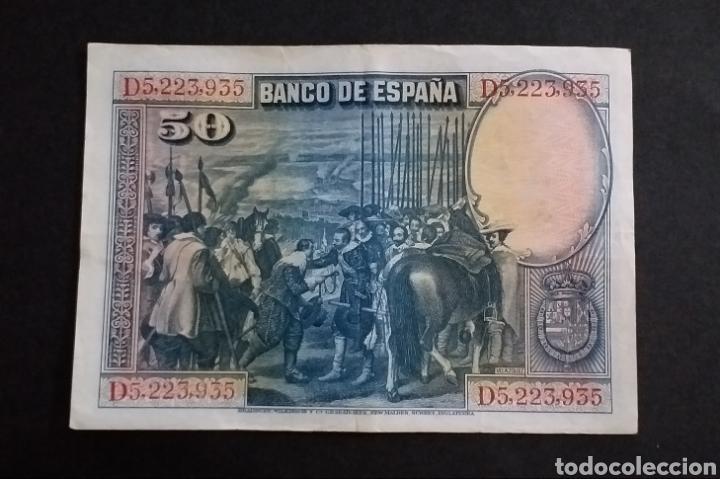 Billetes españoles: Billete de 50 pesetas España Año 1928 - Foto 2 - 268169024