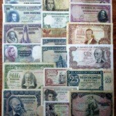 Banconote spagnole: 20 BILLETES DE ALFONSO XIII, 2ª REPUBLICA Y DEL ESTADO ESPAÑOL. LOTE 1671. Lote 268424149