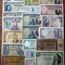 Banconote spagnole: 20 BILLETES DE ALFONSO XIII, 2ª REPUBLICA Y DEL ESTADO ESPAÑOL. LOTE 1670. Lote 268424874