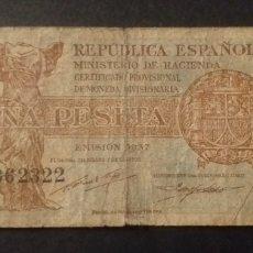 Billetes españoles: BILLETE DE PESETA ESPAÑA AÑO 1937 REPUBLICA ESPAÑOLA. Lote 268453829