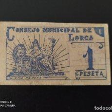 Banconote spagnole: 1 PESETA DE 1937... SELLO OCTUBRE... CONSEJO MUNICIPAL DE LORCA.. .MUY BONITO....ES EL DE LAS FOTOS. Lote 268472369
