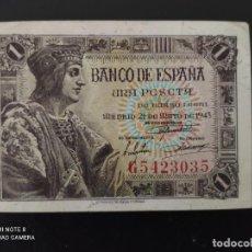 Banconote spagnole: 1 PESETA DE 1943.....SERIE G ...PRECIOSO......ES EL DE LAS FOTOS. Lote 268472614