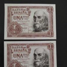 Banconote spagnole: PAREJA CORRELATIVA DE 1 PESETA DE 1953....SERIE X...SIN CIRCULAR......ES EL DE LAS FOTOS. Lote 268473179