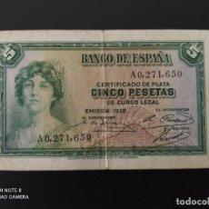 Banconote spagnole: 5 PESETAS.DE 1935....SERIE A....MUY BONITO .....ES EL DE LAS FOTOS. Lote 268473369
