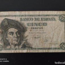 Banconote spagnole: 5 PESETAS.DE 1948....SERIE M.....ESCASO.. .....ES EL DE LAS FOTOS. Lote 268473489