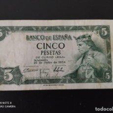 Banconote spagnole: 5 PESETAS.DE 1954....SERIE T.....MUY BONITO.. .....ES EL DE LAS FOTOS. Lote 268473614
