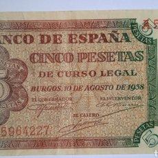 Billetes españoles: BONITO BILLETE EBC BURGOS 5 PESETAS 1938 SERIE A. !!!! ES EL DE LA FOTO!!!. Lote 268795854