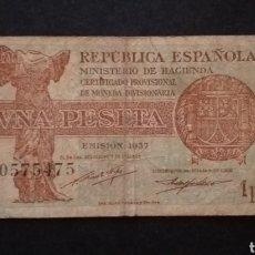 Banconote spagnole: BILLETE DE PESETA ESPAÑA AÑO 1937 REPUBLICA ESPAÑOLA. Lote 268859569