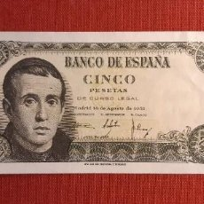 Banconote spagnole: ESTADO ESPAÑOL, 5 PESETAS 16 DE AGOSTO 1951. SERIE V. Lote 268889839