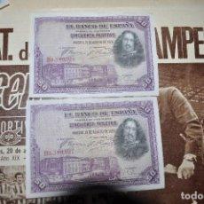 Notas espanholas: PAREJA DE 50 PESETAS 1928. SON LOS QUE SE MUESTRAN EN LAS FOTOS.MUY NUEVOS. Lote 268986394