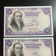 Billetes españoles: SIN SERIE PAREJA CORRELATIVA 25 PESETAS 1946 ESTRADA MUY RARA. Lote 269210838