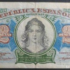 Banconote spagnole: 2 PESETAS 1938 SERIE A (MBC-). Lote 269279198