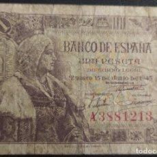 Banconote spagnole: 1 PESETA 1945 SERIE A BC+. Lote 269284788