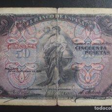 Banconote spagnole: 50 PESETAS 1906 (SERIE C) BC-. Lote 269293873