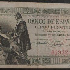 Banconote spagnole: 5 PESETAS 1945 (SERIE J) BC+. Lote 269302198