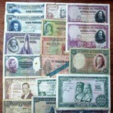 Billetes españoles: 20 BILLETES DE ALFONSO XIII, 2ª REPUBLICA, GIJON, BILBAO Y DEL ESTADO ESPAÑOL. LOTE 1678. Lote 269343483