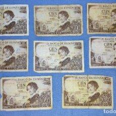 Billetes españoles: 8 BILLETES DE CIEN 100 PESETAS GUSTAVO ADOLFO BECQUER AÑO 1965 ORIGINALES. Lote 269803403