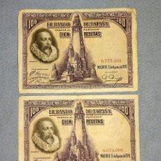 Billetes españoles: 2 BILLETES DE CIEN 100 PESETAS CERVANTES AÑO 1928 SIN SERIE Y UNO NUMERACION MUY BAJA ORIGINALES. Lote 269804143