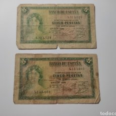 Billetes españoles: BILLETE 5 PESETAS 1935 CERTIFICADO DE PLATA. SIN SERIE.. Lote 269846328