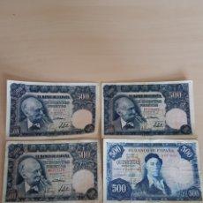 Banconote spagnole: BILLETE BILLETES 500 PESETAS 15 DE NOVIEMBRE DE 1951 LOTE DE 4 ORIGINALES. Lote 269943218