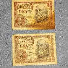 Billetes españoles: 2 BILLETES DE UNA 1 PESETA MARQUES DE SANTA CRUZ AÑO 1953 ORIGINALES. Lote 269947568