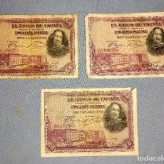 Billetes españoles: 3 BILLETES DE 50 PESETAS VELAZQUEZ AÑO 1928 ORIGINALES. Lote 269949403