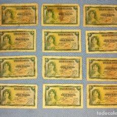 Billetes españoles: 12 BILLETES DE CINCO 5 PESETAS AÑO 1935 OJO SIN SERIE ORIGINALES. Lote 269949873