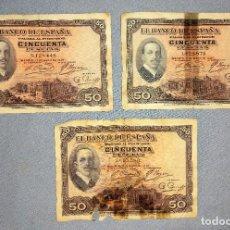 Banconote spagnole: 3 BILLETES DE 50 PESETAS ALFONSO XIII AÑO 1927 Y UNO CON RESELLO ORIGINALES. Lote 269950943