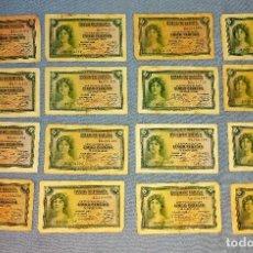 Billetes españoles: 16 BILLETES DE CINCO 5 PESETAS AÑO 1935 ORIGINALES. Lote 269951323
