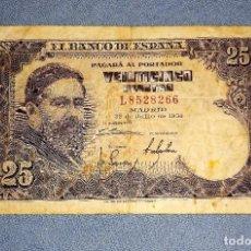 Billetes españoles: 1 BILLETE DE 25 PESETAS ISAAC ALBENIZ AÑO 1954 ORIGINAL. Lote 269951768
