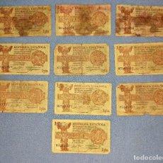 Billetes españoles: 10 BILLETES DE UNA 1 PESETA AÑO 1937 ORIGINALES. Lote 270088188