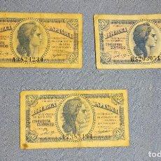 Billetes españoles: 3 BILLETES DE 50 CENTIMOS REPUBLICA ESPAÑOLA AÑO 1937 ORIGINALES. Lote 270089003