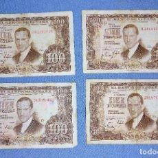 Billetes españoles: 4 BILLETES DE CIEN 100 PESETAS JULIO ROMERO DE TORRES AÑO 1953 ORIGINALES. Lote 270089598