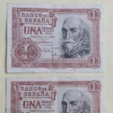Notas espanholas: PAREJA CORRELATIVA 1 PESETA 1953 (SERIE M) MBC-. Lote 270130518