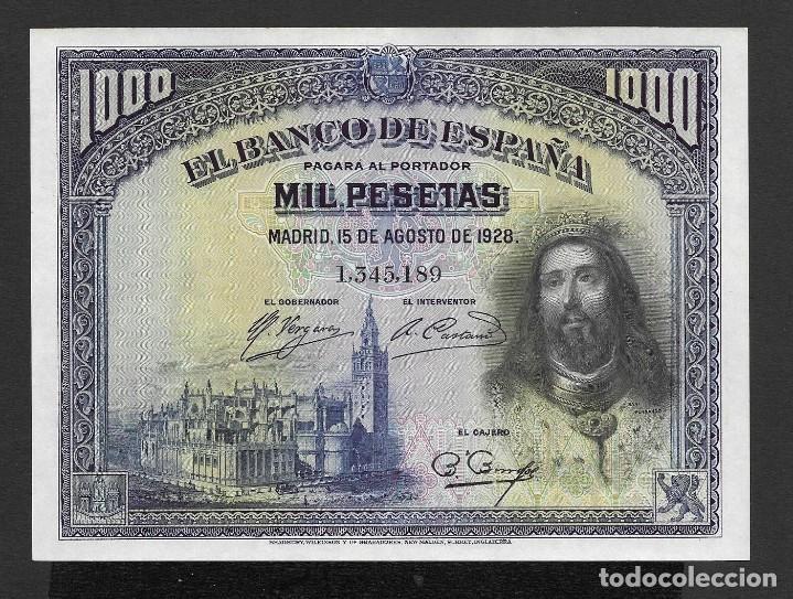 1000 PESETAS 1928 SIN SERIE EBC+/S/C- (Numismática - Notafilia - Billetes Españoles)