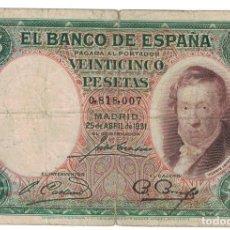 Billetes españoles: [#124842] BILLETE, 25 PESETAS, 1931, ESPAÑA, 1931-04-25, KM:81, RC. Lote 271472008