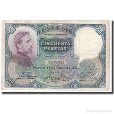 Billetes españoles: [#124830] BILLETE, 50 PESETAS, 1931, ESPAÑA, 1931-04-25, KM:82, MBC. Lote 271472033