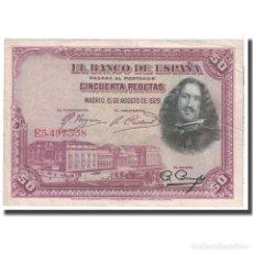 Billetes españoles: [#124838] BILLETE, 50 PESETAS, 1928, ESPAÑA, 1928-08-15, KM:75B, BC. Lote 271472038