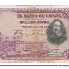 Billetes españoles: [#154693] BILLETE, 50 PESETAS, 1928, ESPAÑA, 1928-08-15, BC. Lote 271474093
