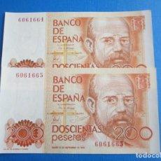 Billetes españoles: 200 PESETAS DE 1980 PAREJA CORRELATIVA SIN SERIE-664/665 PLANCHA. Lote 271717278