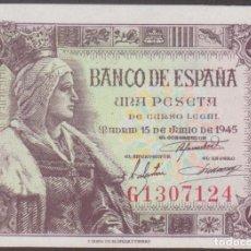 Billetes españoles: BILLETES ESPAÑOLES - ESTADO ESPAÑOL - 1 PESETA 1945 - SERIE G (SC). Lote 272892098