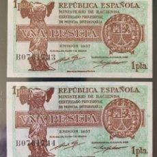 Billetes españoles: PAREJA CORRELATIVA 1 PESETAS DE 1937 S/C PLANCHA LUJO DE TACO SERIE B. Lote 273188783